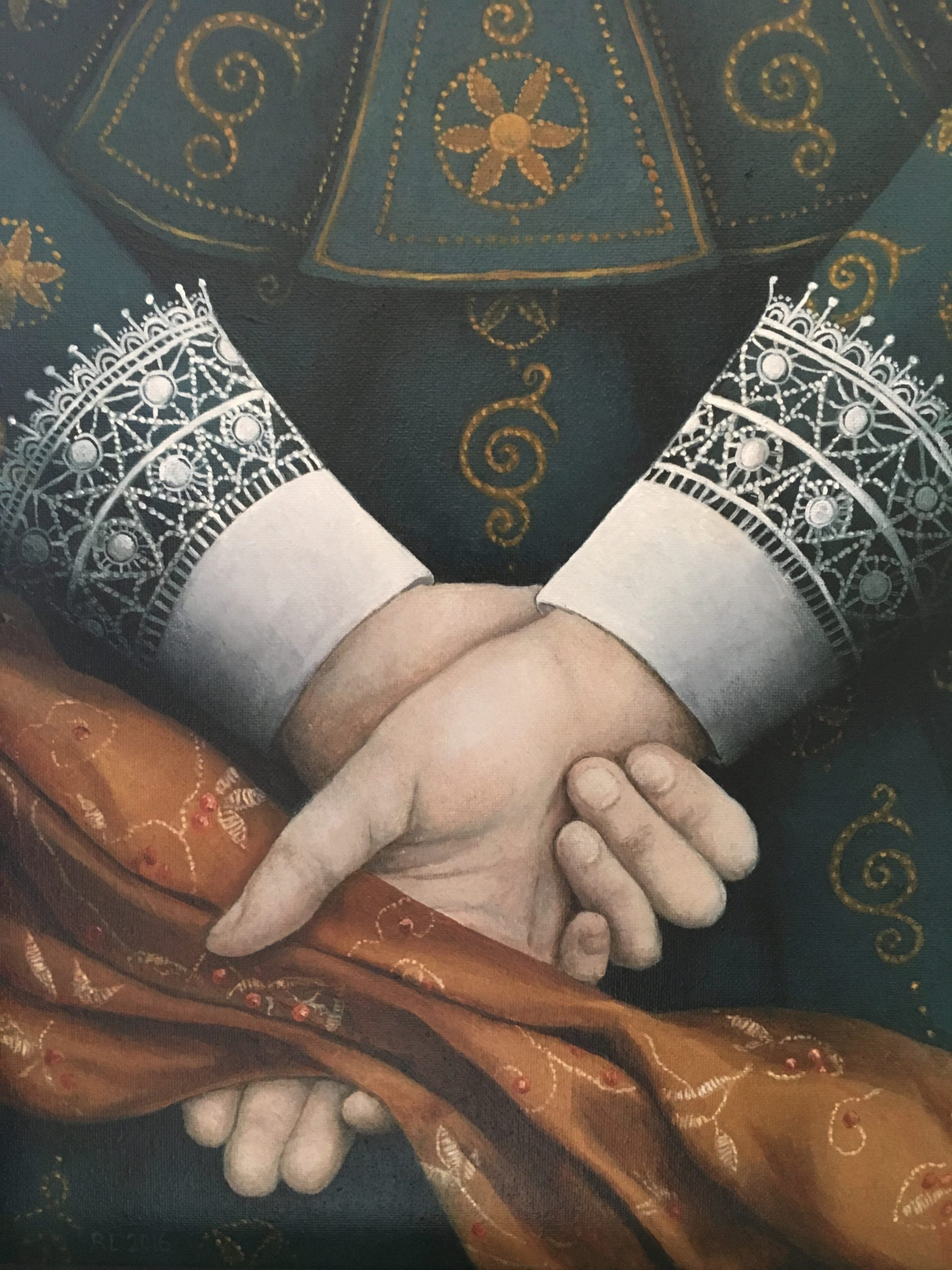 Ros Lyons - But 'Twas Her Hands - Oil on Board - 12 x 9.5 inches