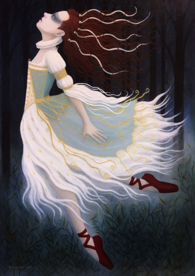 Ros Lyons - The Red Shoes - Oil on Canvas - 24 x 16 inches