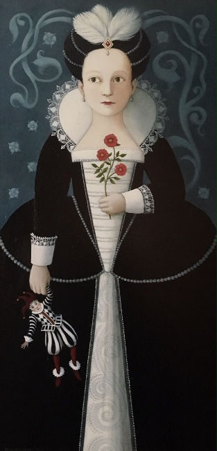 Ros Lyons - Child of Fancy - Oil on Board - 24 x 12 inches