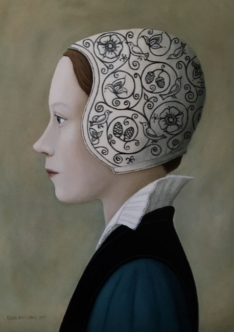 Ros Lyons - Cover Thy Head - Oil on Board - 16 x 12 inches