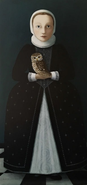 Ros Lyons - Good Night, My Good Owl - Oil on Board - 24 x 12 inches