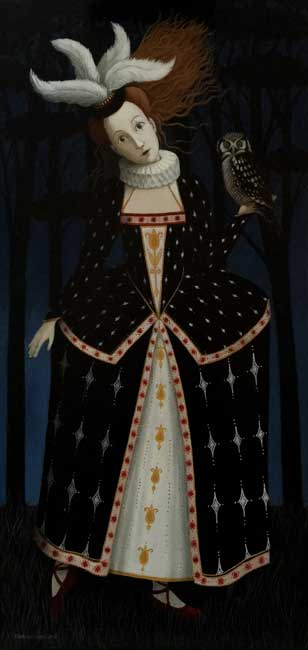 Ros Lyons - Nightly Sings the Staring Owl - Oil on Board - 24 x 12 inches