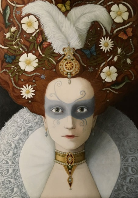 Ros Lyons - So Painted to Make Her Fair - Oil on Board - 24 x 16 inches