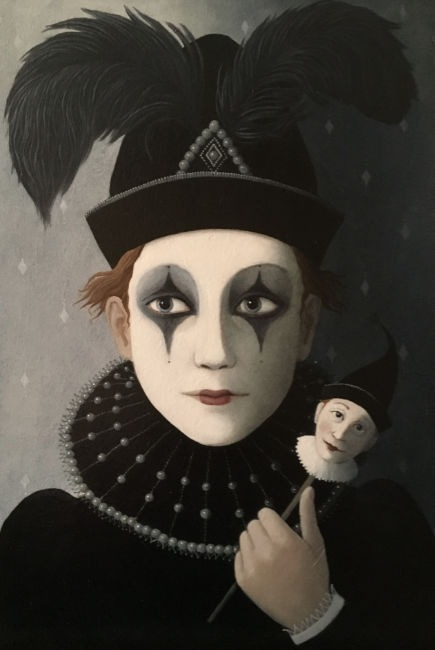 Ros Lyons - To Make a Puppet of Me - Oil on Board - 18 x 12 inches