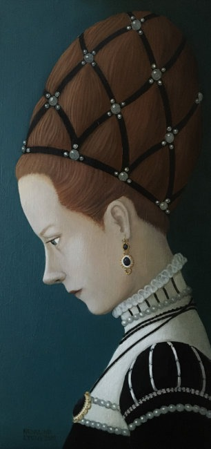 Ros Lyons - Turn'd To a Modest Gaze - Oil on Board - 12 x 6 inches