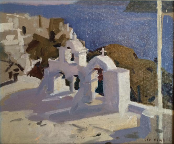 Ken Howard - Santorini Morning Light - Oil on Canvas - 10 x 12 inches