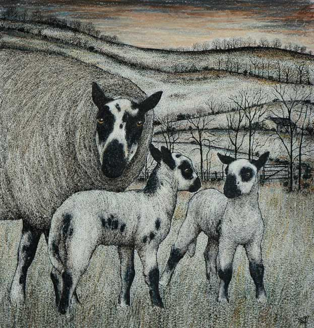 Seren Bell - Beulah Lambs - Mixed Media - 13 x 12.5 inches