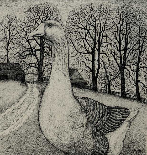 Seren Bell - Goose - Mixed Media - 14.5 x 11 inches
