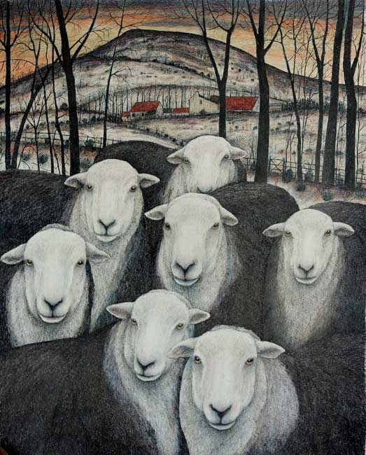 Seren Bell - Winter Fields with Herdwicks - Mixed Media - 28.5 x 23.5 inches