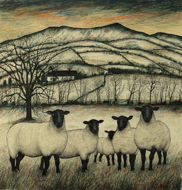 Seren Bell - Suffolks, Winterfields - Mixed Media - 22 x 22 inches
