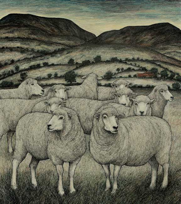 Seren Bell - Summer Pasture - Mixed Media - 24 x 21.5 inches