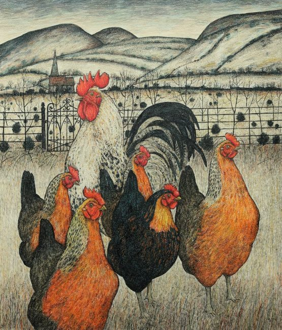 Seren Bell - Coming Home to Roost - Mixed Media - 27 x 23 inches