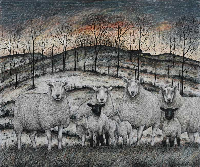 Seren Bell - Early Morning Wye Valley - Mixed Media - 23,5 x 19,5 inches