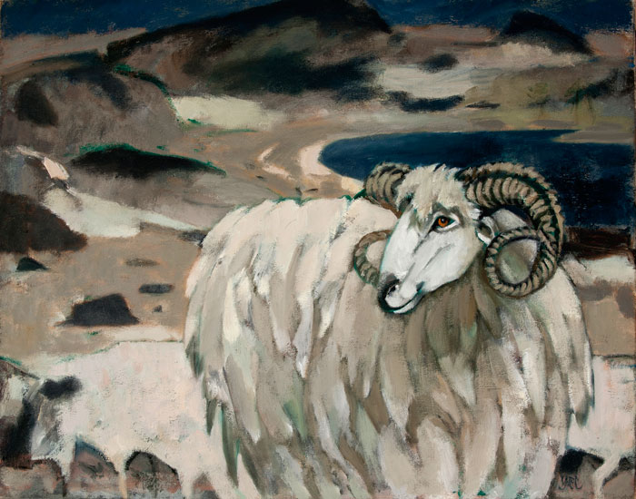 Ursula McCannell - Sheep on a Desolate Shore c2004 - Oil on Canvas - 24 x 30 inches