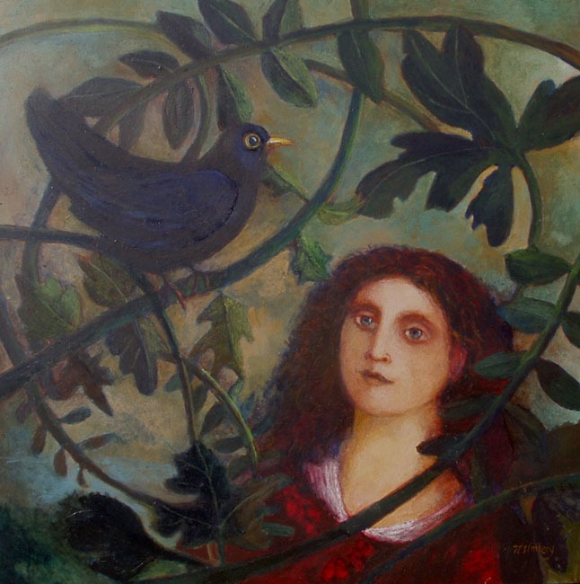 Nicola Slattery - Songbird - Acrylic on Wood - 12 x 12 inches