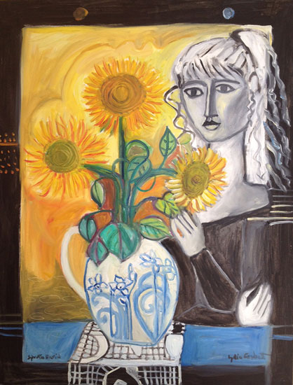 Lydia Corbett - Sylvette and the Sunflowers - Oil - 29 x 40 inches