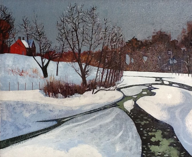 Victor Richardson - The Frozen Stream - Oil on Board - 7 x 9 inches