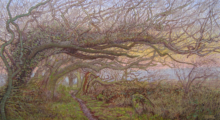 Maurice Sheppard - The Hearts Song, in Windswept Trees - Oil on Board - 8 x 14 inches