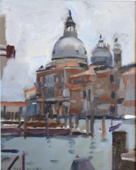 Ken Howard - The Salute Venice - Oil on Canvas - 9.5 x 7.5 inches