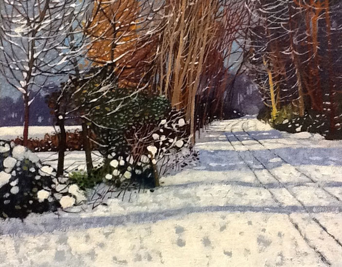 Victor Richardson - The Winter Boreen - Oil on Board - 7 x 9 inches