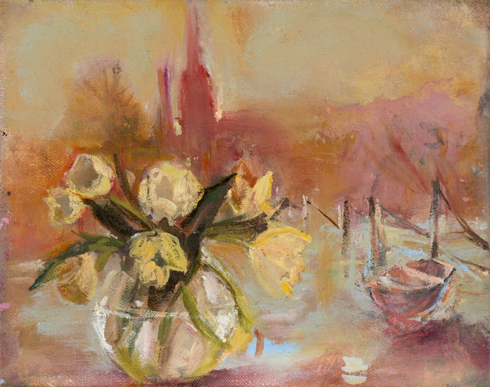 June Redfern - Tulips and Ferry - Oil on Linen - 8 x 10