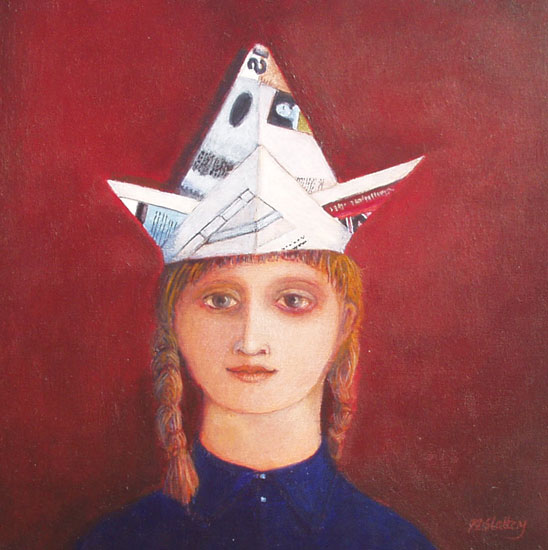 Nicola Slattery - Two Minute Hat - Acrylic on Wood - 8 x 8 inches
