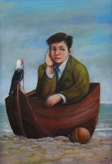 James Donovan - Waiting for the Tide - Acrylic on Paper - 9.5 x 6.5 inches