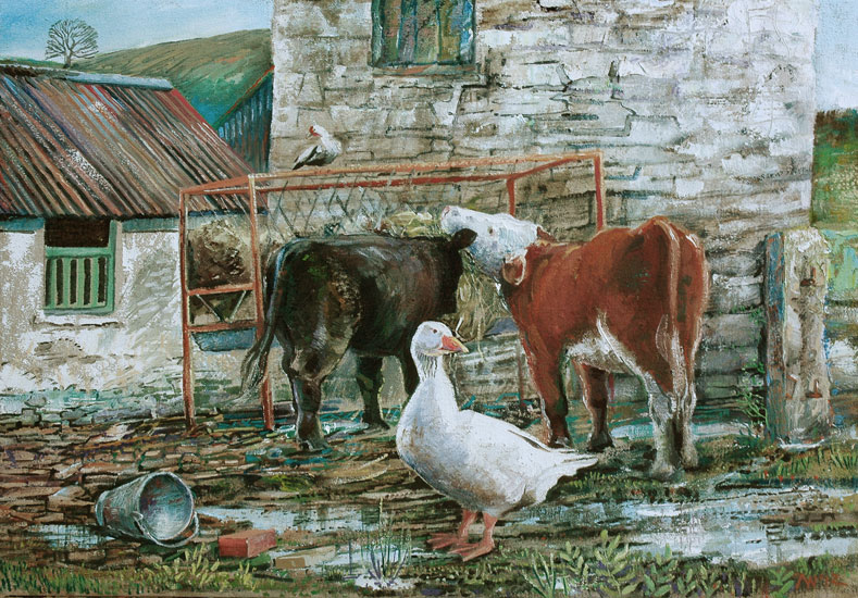 Alex Williams - Welsh Gander - Oil on Canvas - 18 x 22.5 inches