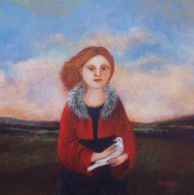 Nicola Slattery - White Dove - Acrylic on Wood - 8 x 8 inches