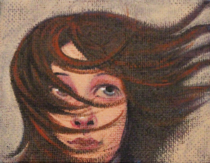 James Donovan - Windswept - Acrylic on Canvas - 3.5 x 2.5 inches