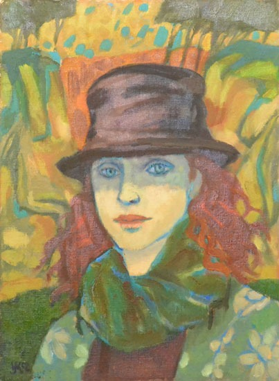 Ursula McCannell - Woman In Hat c2000 - Oil on Canvas - 17 x 13 inches