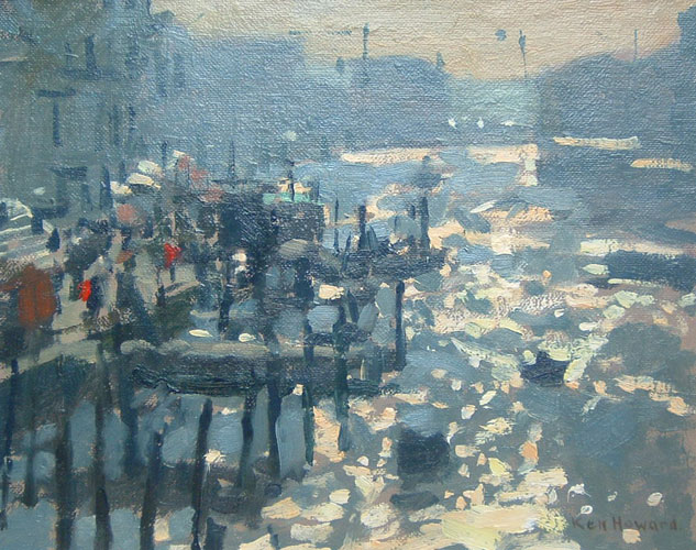 Ken Howard - Afternoon light from the Ponte degli scalzi - Oil on Canvas - 9 x 11.5 inches