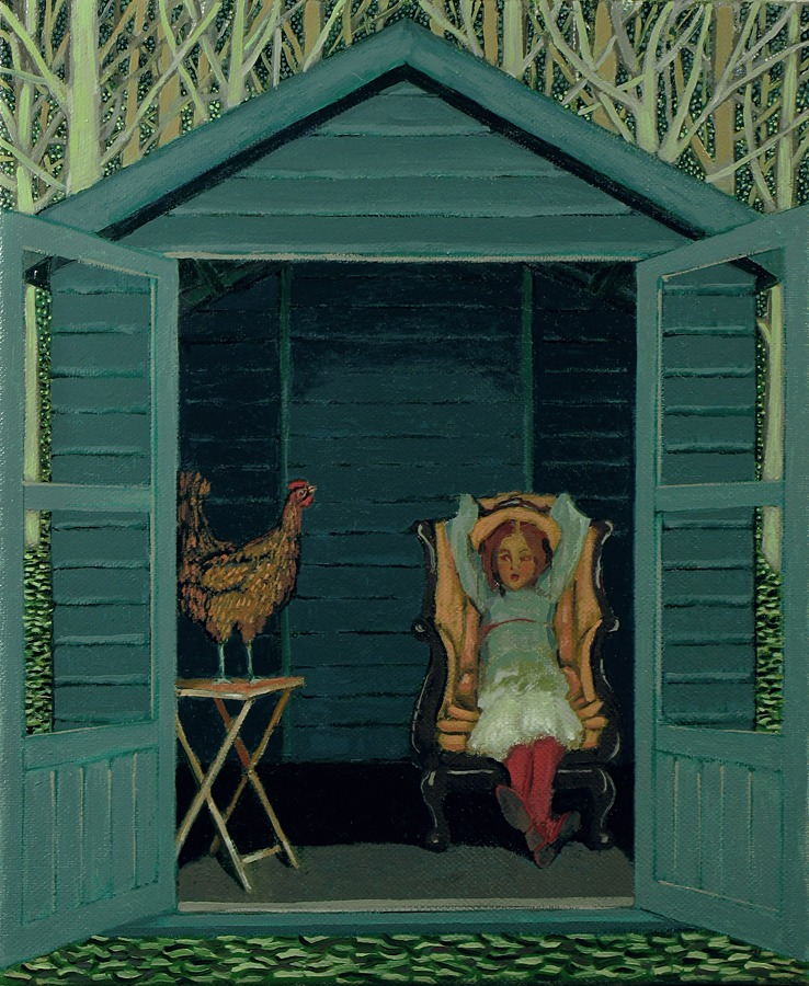 Ann McCay - The Hen's Tale - Oil on Canvas - 15.5 x 17.5 inches