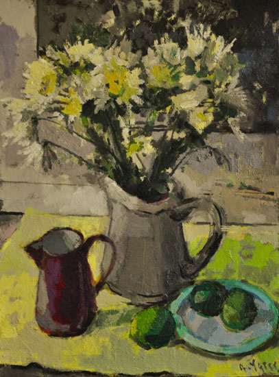 Anthony Yates - Still Life on Yellow Tissue Paper - Oil on Board - 24 x 18 inches