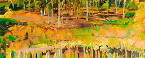 Christopher Johnson - Autumn, Hamilton Russell - Oil on Paper - 18 x 44 inches