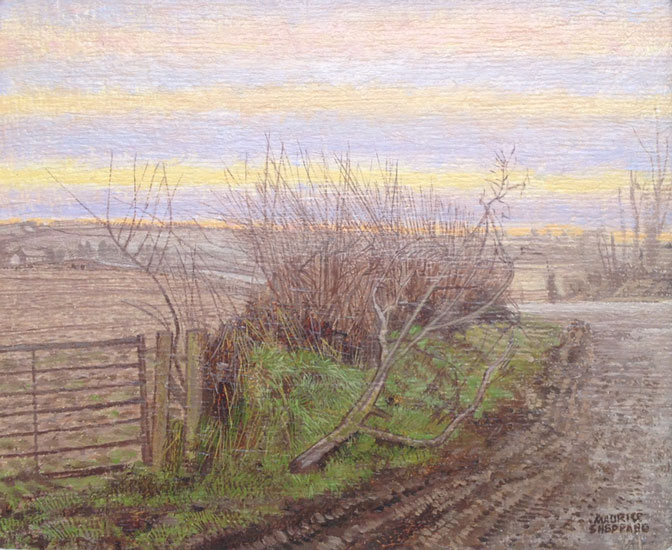 Maurice Sheppard - Branch and wandering road - Oil on Board - 6 x 8 inches
