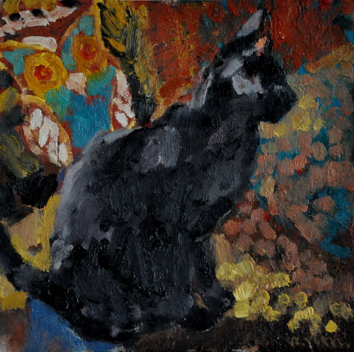 Anthony Yates - Cat - Oil on Board - 14 x 14 inches
