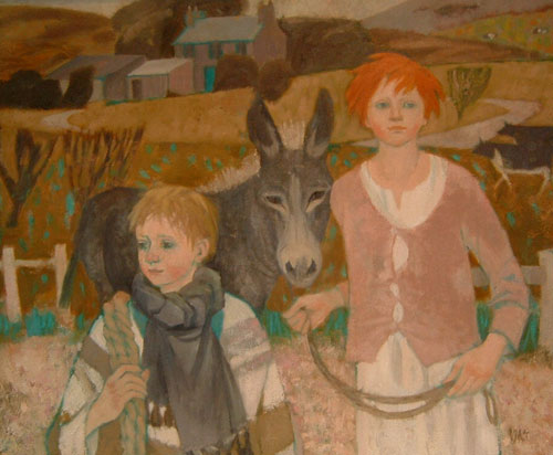 Ursula McCannell - Dylan, Maisie and the Donkey - Oil on Board - 30 x 35 inches