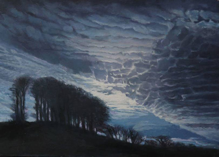 Gareth Hugh Davies - Dinefwr night - Oil on Panel - 5 x 7 inches