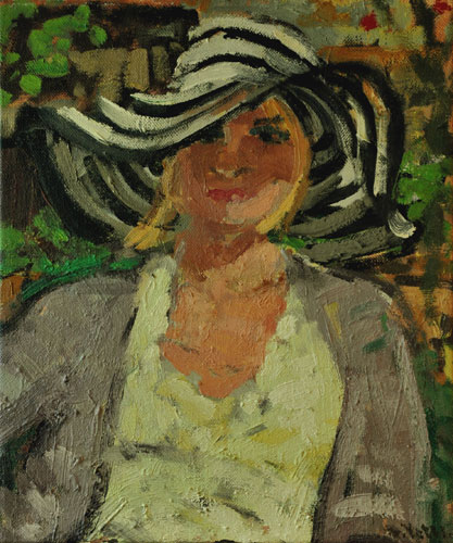 Anthony Yates - Girl in Striped Sun Hat - Oil on Canvas - 18 x 15 inches