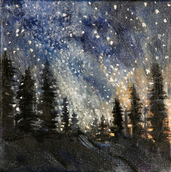 Janet Johnson - Pines and Milky Way - Oil on Canvas - 9.5 x 9.5 inches