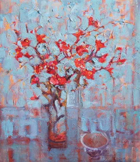 Jackie Philip - Japanese quince and teacup - Oil on Canvas - 16 x 14 inches