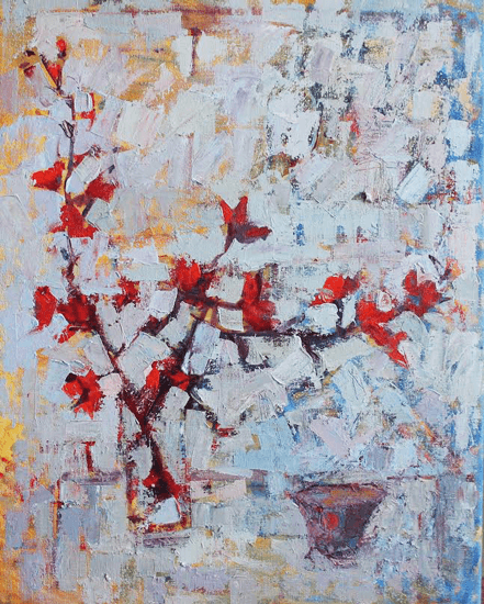 Jackie Philip - Japanese quince & tea cup - Oil on Canvas - 22 x 18 inches