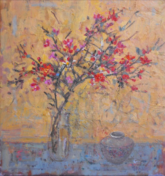 Jackie Philip - Japanese Quince and Ginger Jar - Oil on Canvas - 22 x 20 inches