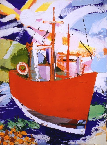 David Imms - The Little Red Boat - Oil on Canvas - 16 x 12 inches