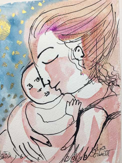 Lydia Corbett - Baby, Mother and Gold Rain - Watercolour - 8 x 5 inches