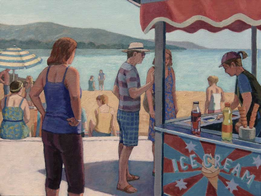 Martin Eldridge - Ice Cream Stand, Welsh Coast - Oil on Canvas - 24 x 18 inches