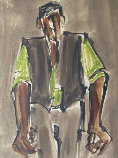 Mike Jones - Farm Labourer (Green Shirt) - Ink Wash and Crayon - 10 x 8 inches