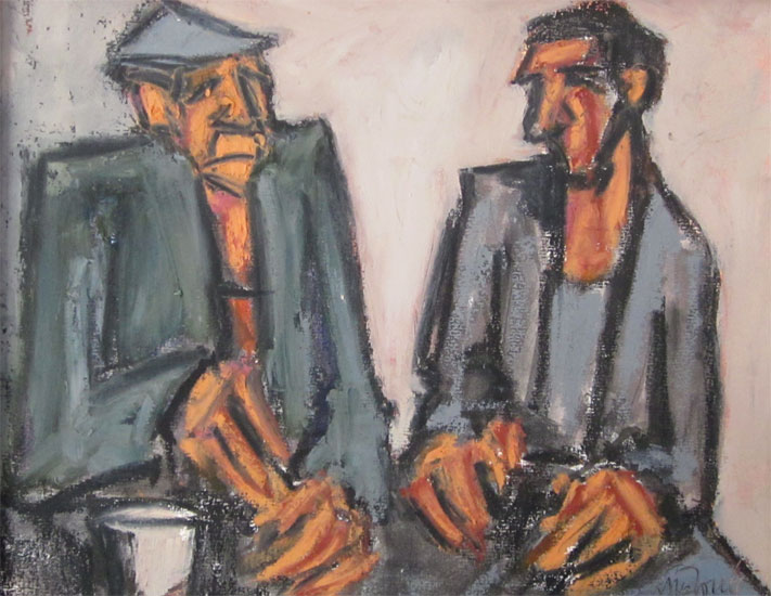 Mike Jones - Men at Table - Oil on Canvas - 8 x 10 inches
