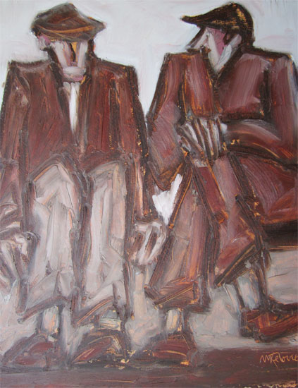 Mike Jones - Two Men Seated - Oil on Canvas - 12 x 10 inches